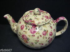 Heron Cross Pottery ROSE BASKET (cream B/G) Chintz English 6-8 Cup Tea Pot