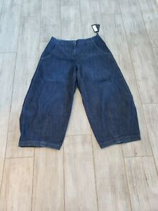 NWT $369 Oska Jeans Wide Leg Blue Elastic Waist Denim Trousers Size 4 w/ Pockets