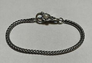 """Trollbeads Sterling Silver Pearl Flower Lock Clasp w/Bracelet 7"""""""