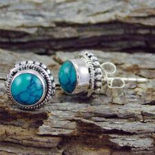 Vintage Silver Turquoise Gemstone Ear Stud Dangle Engagement Earrings Jewelry