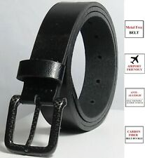 Metal Free Leather Belt with Carbon Fiber Buckle