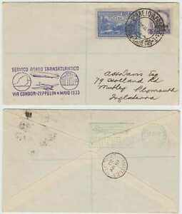 BRAZIL 1933 GRAF ZEPPELIN Michel 295a COVER 4200R RIO-PLYMOUTH, ENGLAND €140+