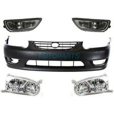 NEW FRONT BUMPER COVER WITH END & HEADLIGHT PKG FITS 01-02 TOYOTA COROLLA KITS 5
