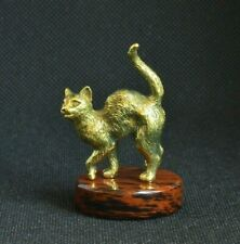 Art Deco Bronze Animals Cat Kitty Statuette Figurine Figure With Obsidian Stand