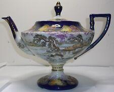 Cobalt Blue yellow and red roses Gilded Nippon Pedestal 2 part tea pot c1890