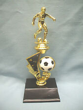 female soccer trophy full color spinning ball riser wide black base