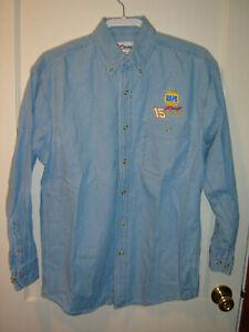 Men's CHASE AUTHENTICS NAPA #15 Waltrip Long Sleeve Washed Denim Shirt Medium