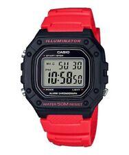 Casio W218H-4BV, 50 Meter WR Chronograph Watch, Alarm, Red Resin, Illuminator