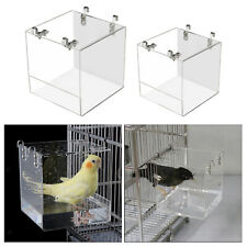 New listing Clear Bird Bath Cage Hanging Clip-on Water Shower Box for Canary Parrots
