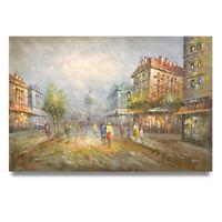 NY Art - Classic London Street Scene 24x36 Original Oil Painting on Canvas!