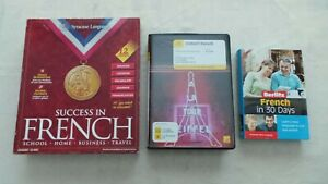 BUNDLE OF 3 FRENCH LANGUAGE COURSE CD'S, CD ROM AND BOOKS