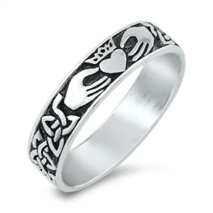 Celtic Oxidised 925 Sterling Silver Triquetra Claddagh Band Ring 5mm J L N P R T