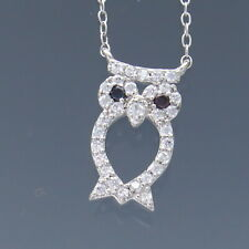 "16"" Sparkling Micro Pave Horned Owl Black Eyes Sterling Silver Necklace 1.8g"