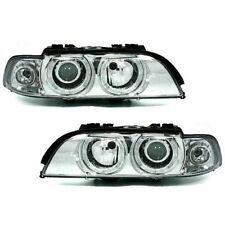 BMW 5 Series E39 (95-00) Chrome Halo Angel Eye Projector Front Headlights Lights