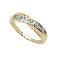 9CT GOLD 0.25ct BLUE TOPAZ & DIAMOND CHANNEL SET ETERNITY RING SIZE SIZES I to W