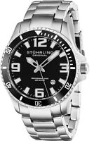 Stuhrling Mens Swiss Quartz Stainless Steel Dive Watch 200 Meter Water Resistant