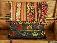 Original Turkish Wool Handwoven Oriental Rug Kilim Pillow Cover Case 19''x19''