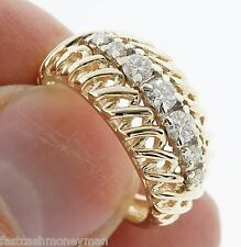 VINTAGE 14K GOLD FRCO FRITZ ROSSIER MESH DOME DIAMOND BAND RING JEWELS OF JOY