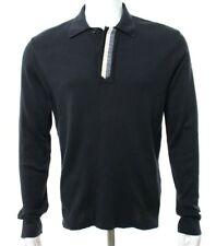 Jil Sander Men's L Large Navy Blue Sweater Polo Collar Neck Cotton Cashmere EUC