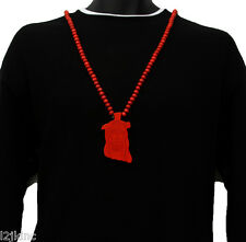 Men Red Jesus Pendant Wood Hip Hop Ball Beaded 36 Inch Chain Necklace
