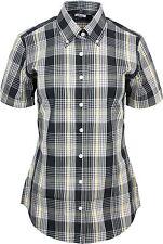 Relco Womens Black Yellow Tartan Check Short Sleeve Button Down Collar Shirt