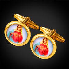 U7 Round Shirt Cufflinks 18KGP Virgin Mary Cuff Links for Men Suit Accessories