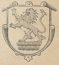 A4240 Stemma di Barmen - Incisione - Stampa Antica del 1887