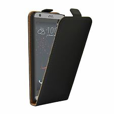 SLIM BLACK Leather Flip Case Cover Pouch For HTC Desire 530 (+2 FILMS)