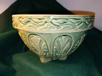 Rare, Vintage Brush Pottery Hanging Planter, 1937, Green Art Nouveau EXC