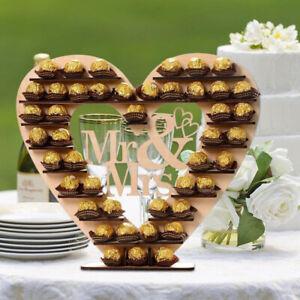 Romantic Wooden Mr & Mrs Chocolate Dessert Display Stand Wedding Party Decor