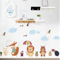 Wall stickers animal cloud raining flowers Decor Removable Nursery Kids Baby