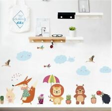 Wall stickers animal cloud raining flowers Decor Removable Nursery Kids Baby