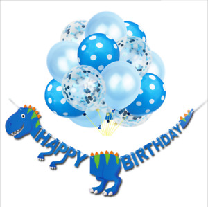 Dinosaur Child Happy Birthday Paper Banner balloons Bunting Party Decoration UK