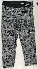 NIKE Pro Women Training Capri Tights Dri-Fit Black Grey Geometric Print Size L