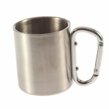 Portable 250ml Camping Office Cup Coffee Water Travel Mug Carabiner Handle Mugs