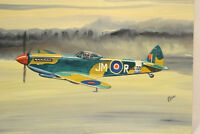 Original Painting WWII British Spitfire Fighter by Frank Tewfell