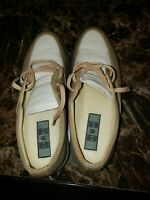 NIKE Bella Last Women's Tan & Cream Leather Golf Shoes Size 6.5 LNC 192059-211