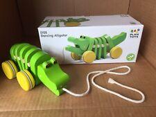 EUC Plan Toys Dancing Alligator Green Crocodile  Wooden Pull Toy Toddler 5105