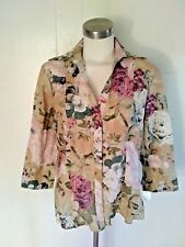 new Harve Benard Size M  Green Coral Pink Floral Shirt Top Blouse  for women