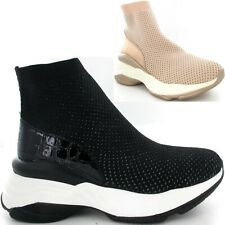 Ladies Womens Sock Trainers Platform Sole Fashion Trainers Knit New Shoe Size