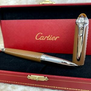 RARE Authentic Cartier Rollerball Pen Roadster Stitched Leather w/Case & Papers