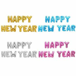 """12 Pcs Foil Balloons 16 Inch """"HAPPY NEW YEAR"""" Letters Party Decoration 4 Colors"""