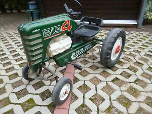 Traktor Trecker Tretauto Pedal Car groß 100cm aus Blech USA? ca.1960/70er Jahre