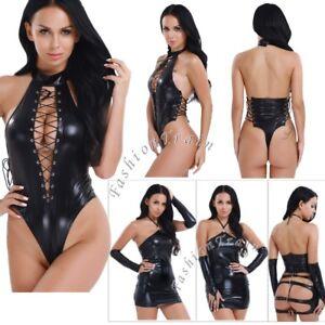 Women Wetlook Leather Bodusuit Leotard Open Butt Cut Out Sexy Nightwear Clubwear