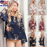 Women's Long Bell Sleeve Tops Lace Up Ladies Tunics Floral Chiffon Blouse Tee US