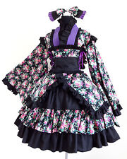 Elegant Gothic Sweet Wa Lolita Ruffled Dress K6 with Built-in Petticoat