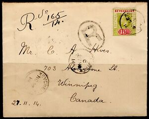 Seychelles Cover R Anse Royale 27.11.1914 R to Wiinnipeg Canada via London King