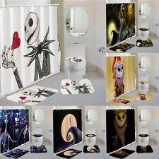 Nightmare Before Christmas Bath Mat Contour Shower Curtain Toilet Lid Cover 4PCS