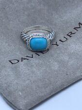 David Yurman Sterling Silver Noblesse Turquoise Diamond Ring Size 7.25