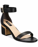 DKNY Womens Henley Leather Open Toe Casual Ankle Strap Sandals, Black, Size 9.0